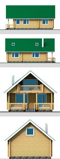 Фасади будинку з оциліндрованого або